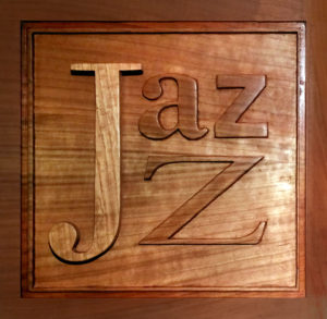 Jazz logo cut out of wood