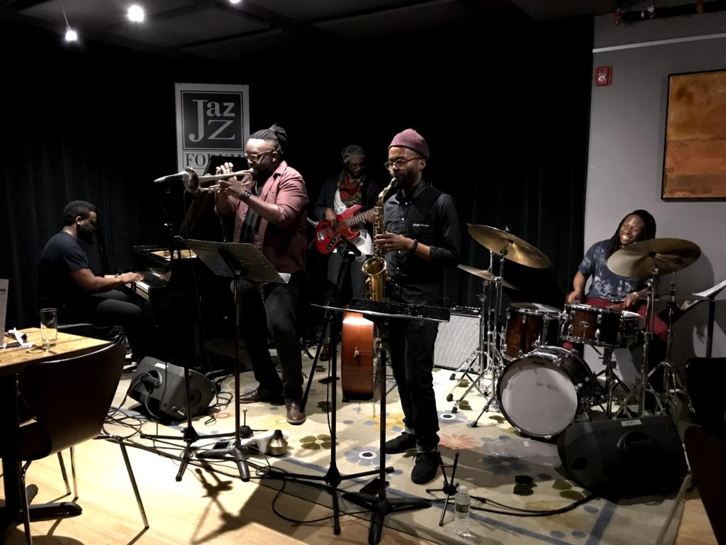 The Marquis Hill Blacktet performing live jazz music at the Jazz Forum Club