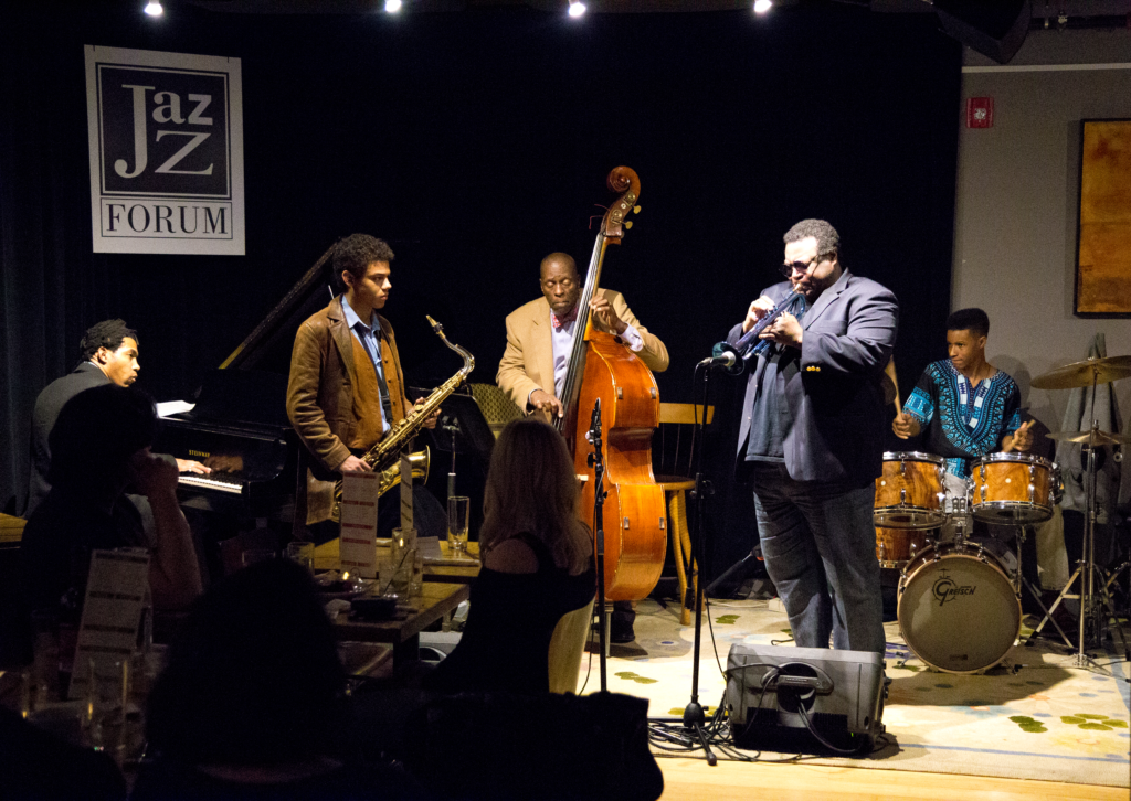 Wallace Roney playing the trumpet with his group during a live jazz concert