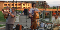Jazz quartet playing outdoors at a waterfront park in Sleepy Hollow, New York
