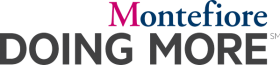 Montefiore pink, blue and grey logo