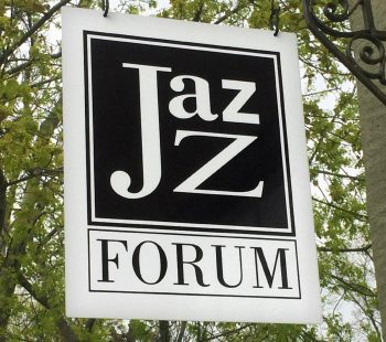 Black and white Jazz Forum club sign outside the venue in Tarrytown, New York