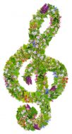 Musical green Easter clef symbol  for your spring eco musics. Isolated abstract handmade collage from springs plants and flowers